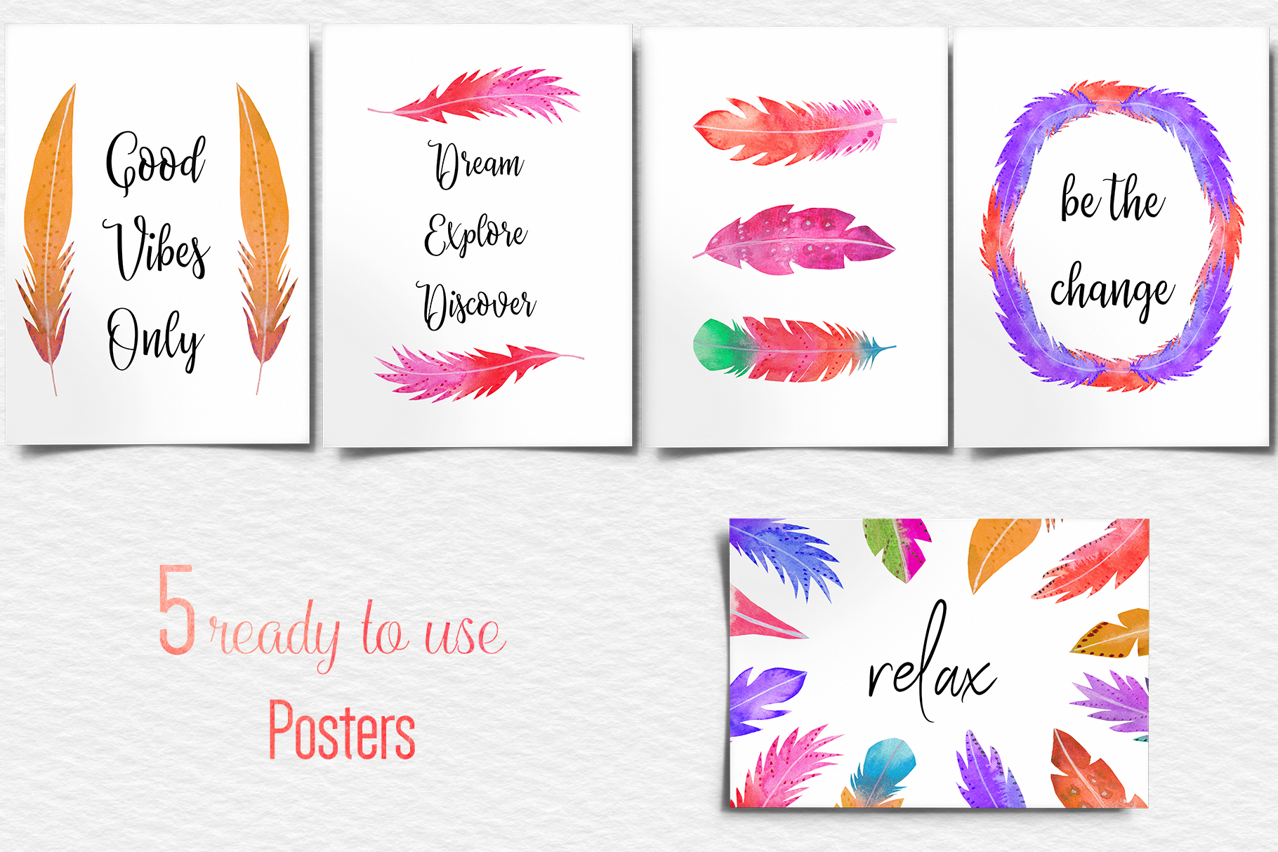 Watercolor Feathers Clipart, Watercolor Feather Illustration example image 4
