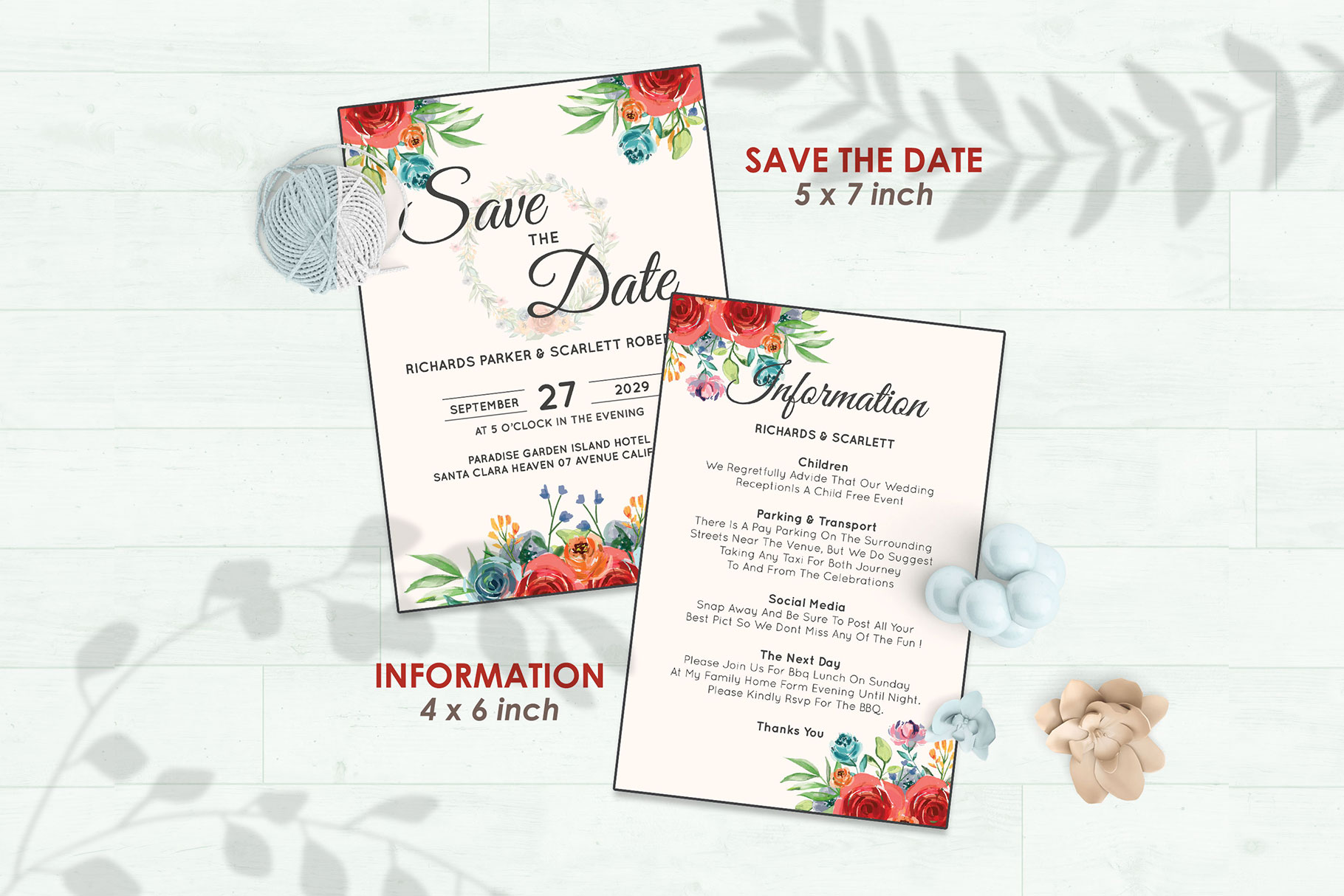 Wedding Invitation Set #4 Watercolor Floral Flower Style example image 3