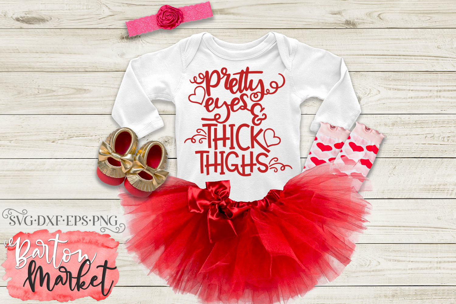Pretty Eyes & Thick Thighs SVG DXF EPS PNG example image 3