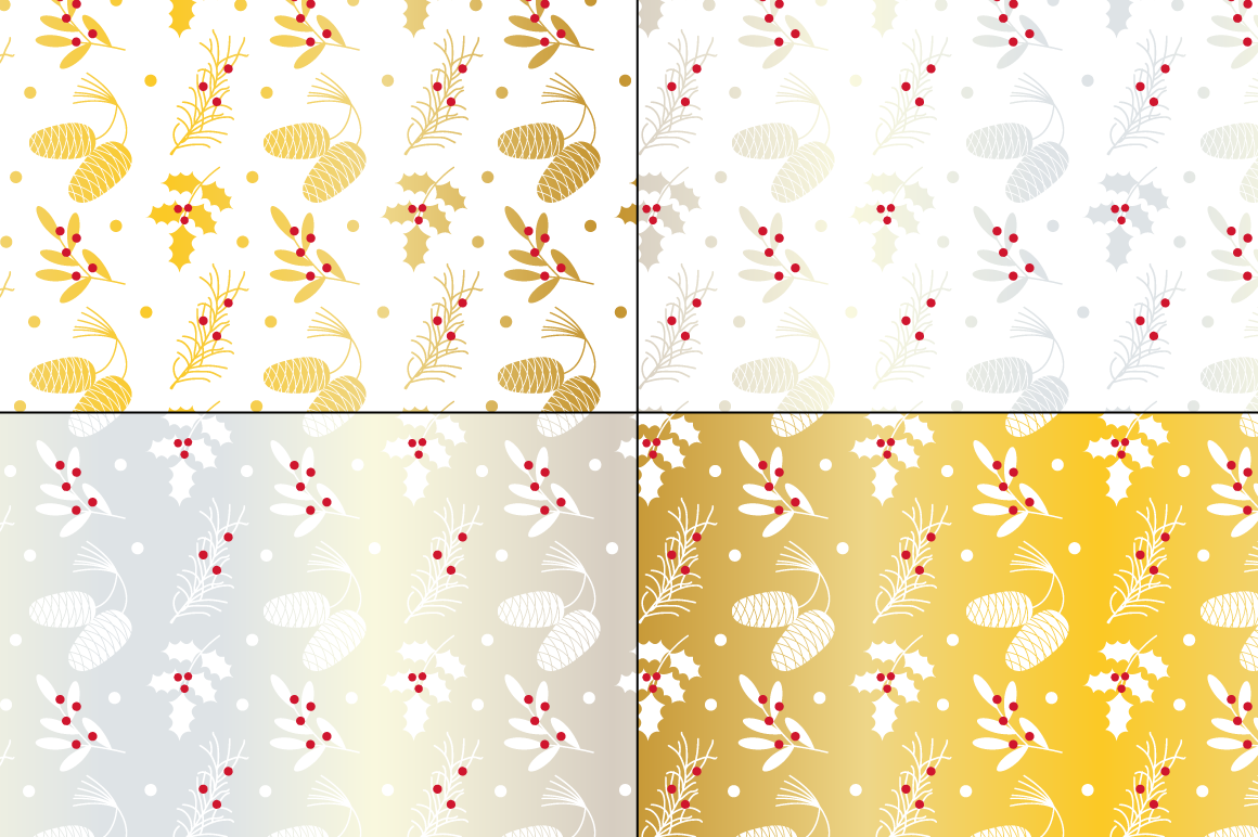 Seamless Silver & Gold Holiday Patterns example image 3