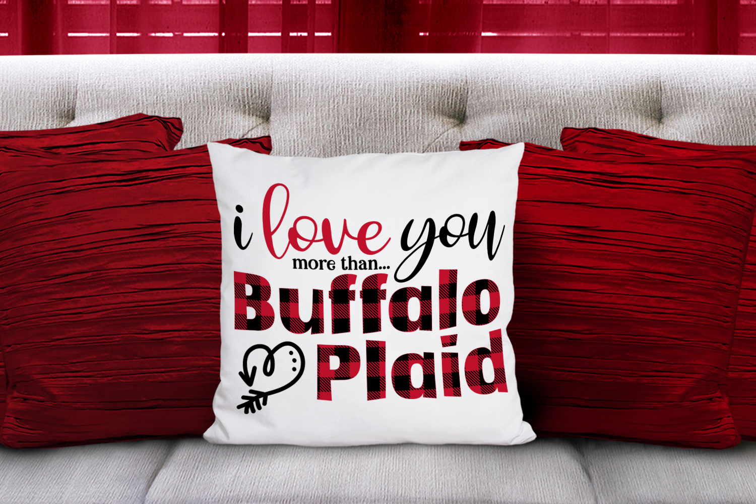 I Love You More than Buffalo Plaid - A Valentine's Day SVG example image 3