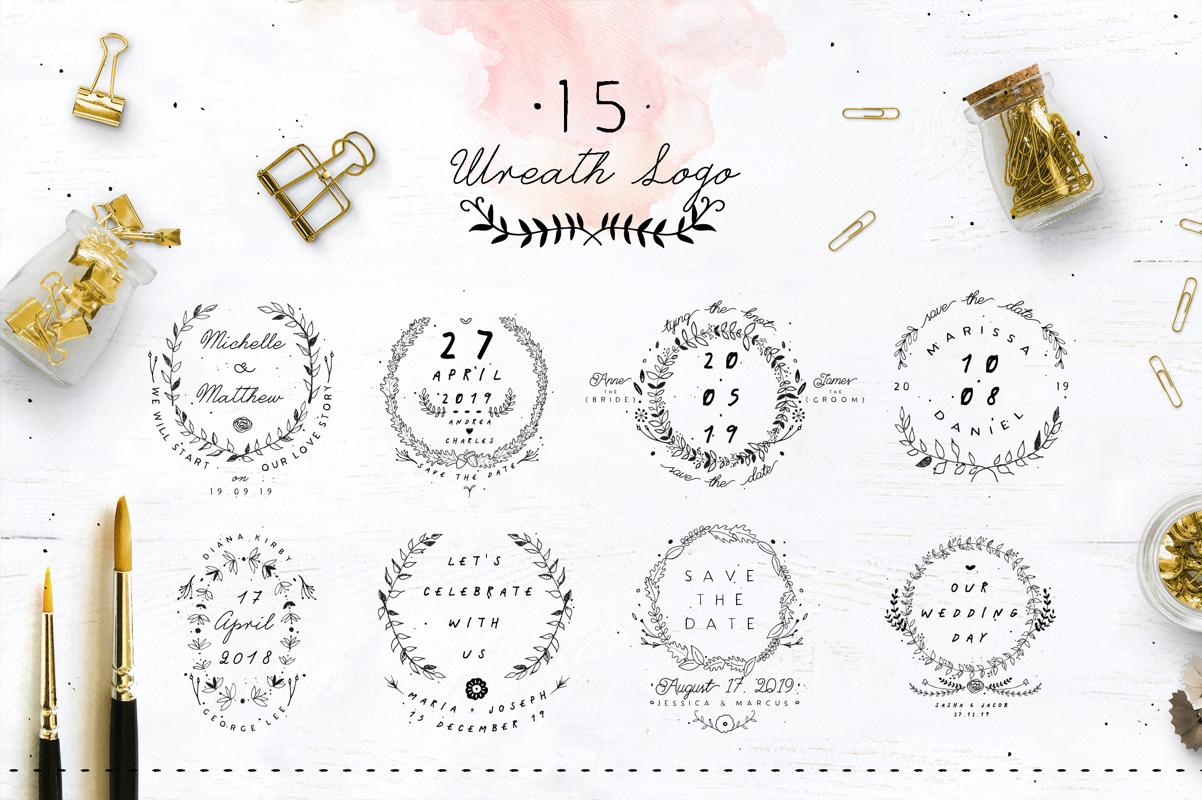 30 Save the Date Wreath Logo example image 2