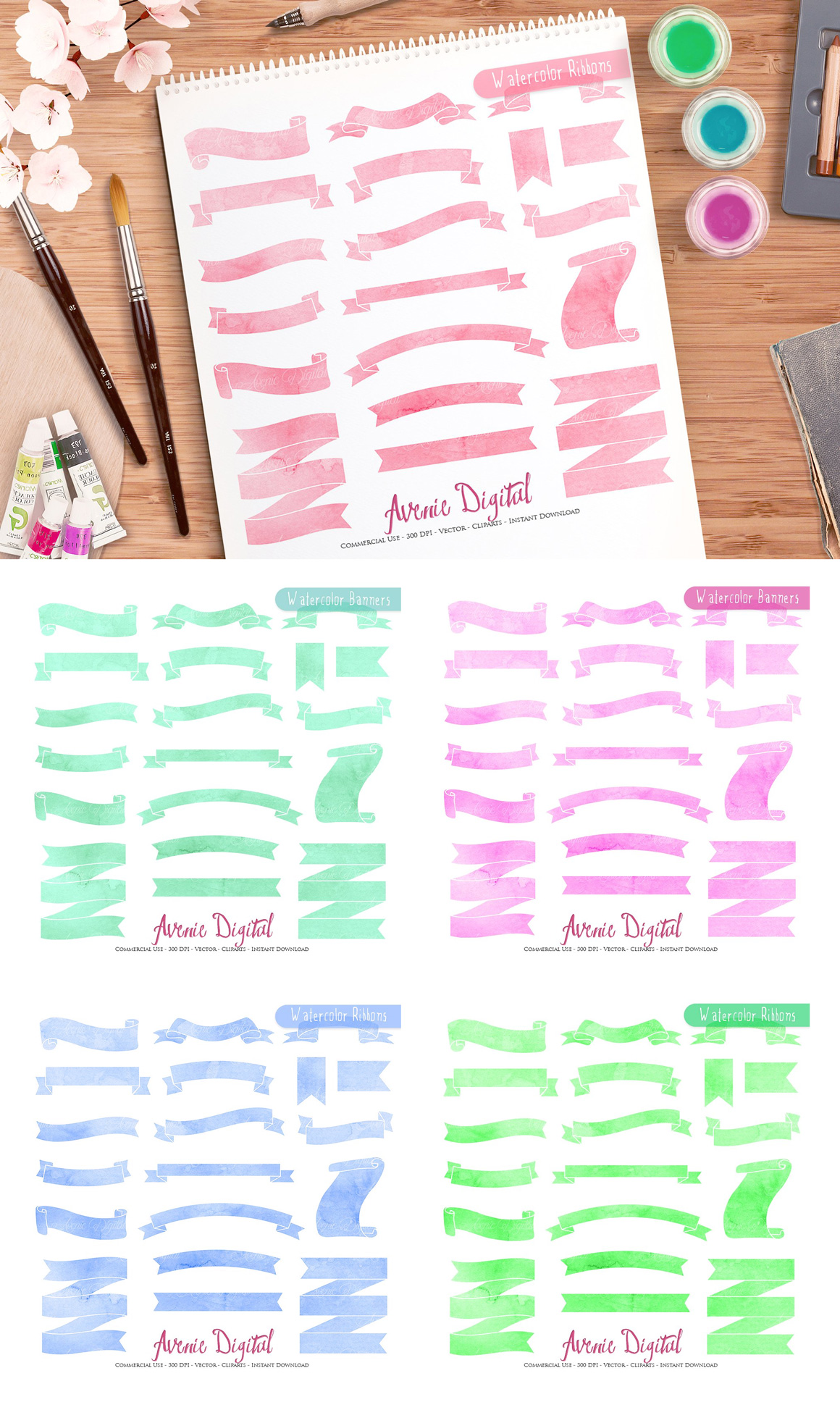 New Watercolor Textures and Graphics Bundle example image 13