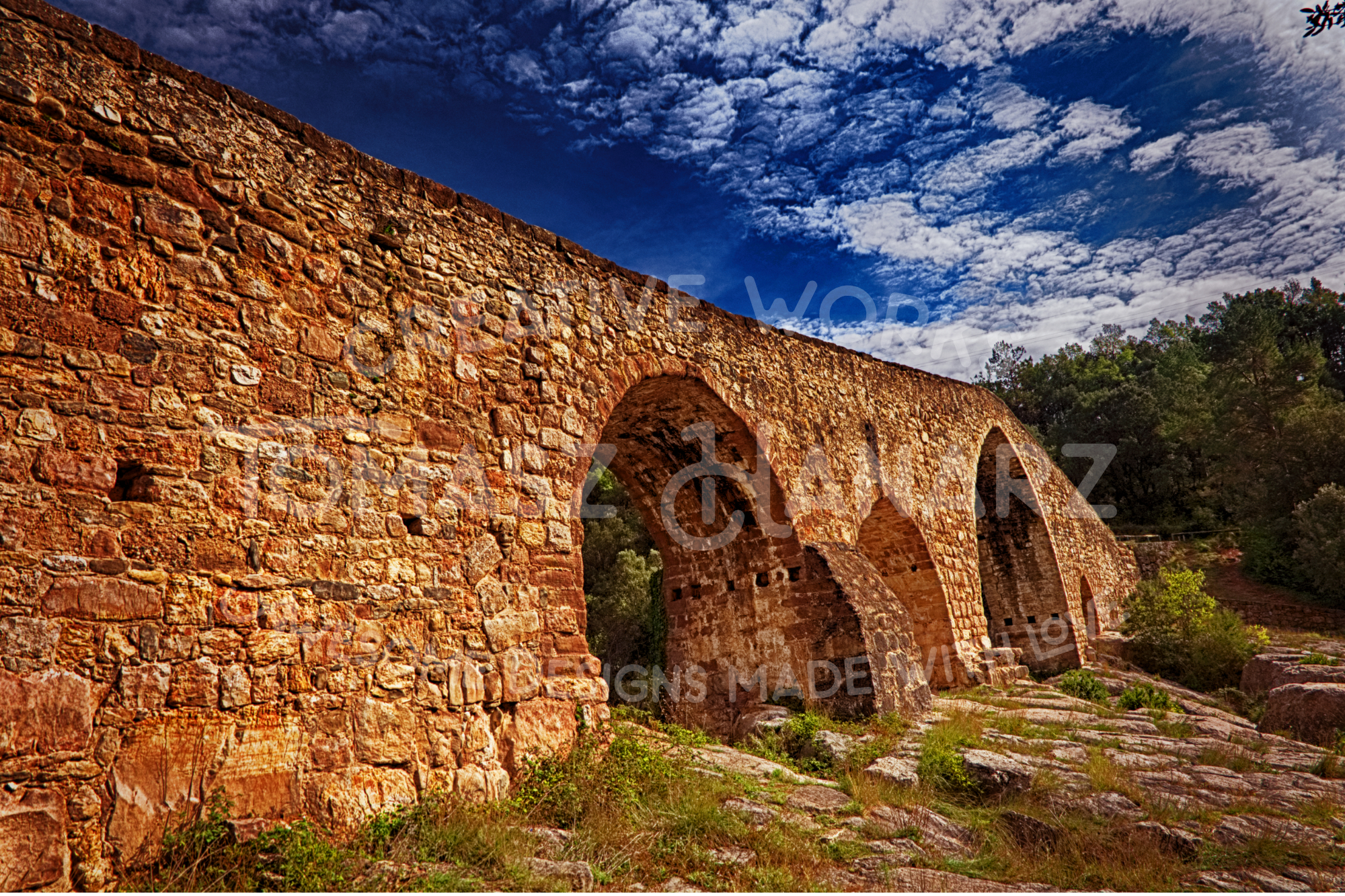 Gothic Stone Bridge Over The River Llobregat Photo Bundle example image 4