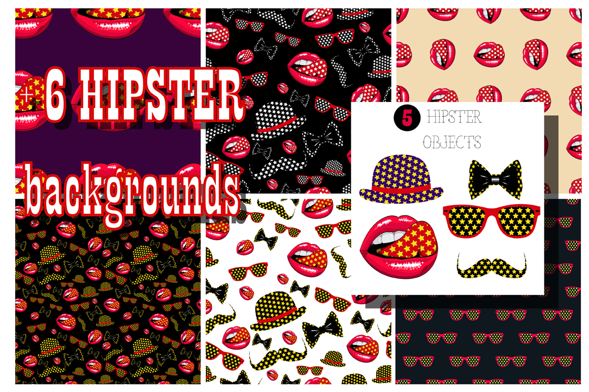 Vector hipster set_1. example image 1