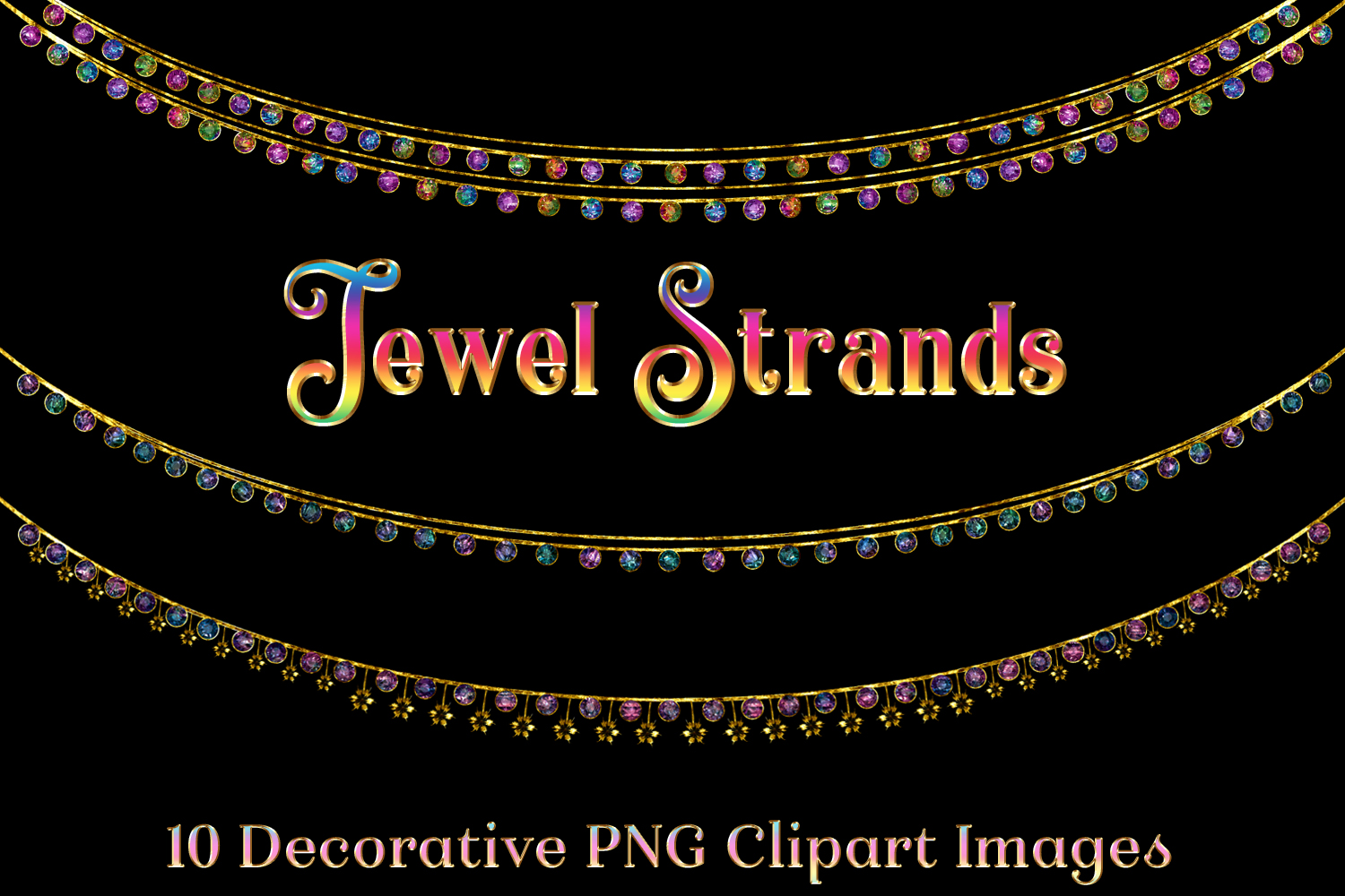 Jewel Strands Crystal Strings - 10 Image Clipart Objects Set example image 1