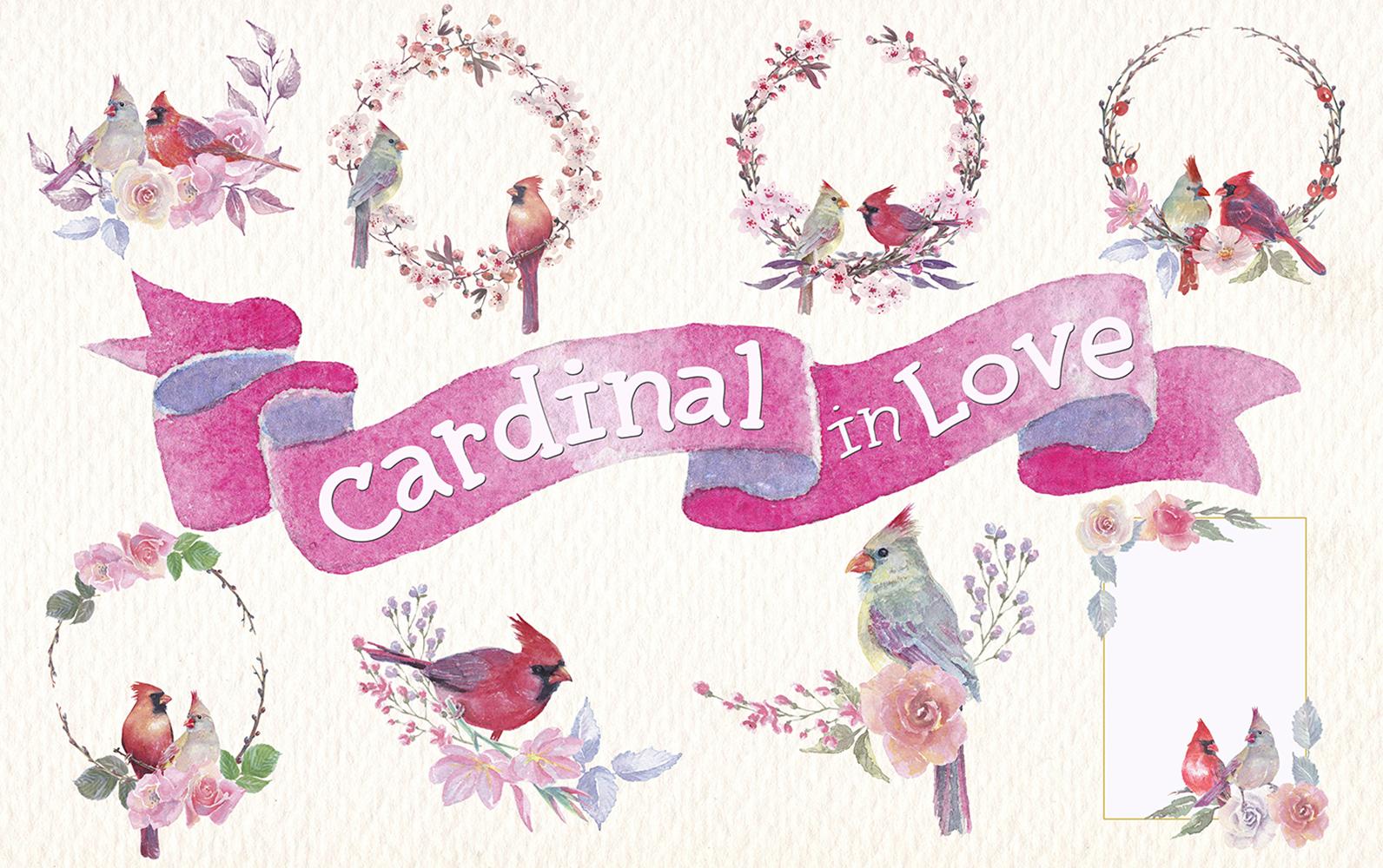 watercolor Cardinal in love clip art example image 2
