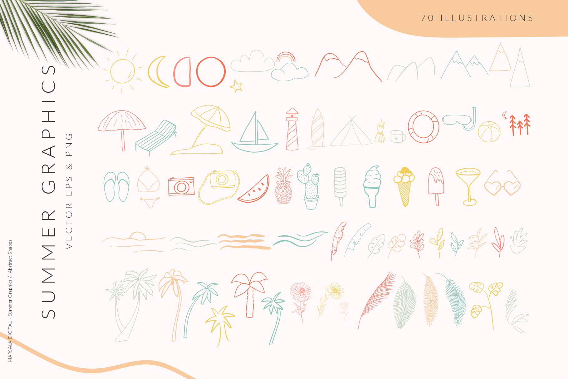 Abstract Shapes & Summer Line Art Vector Cliparts example image 5