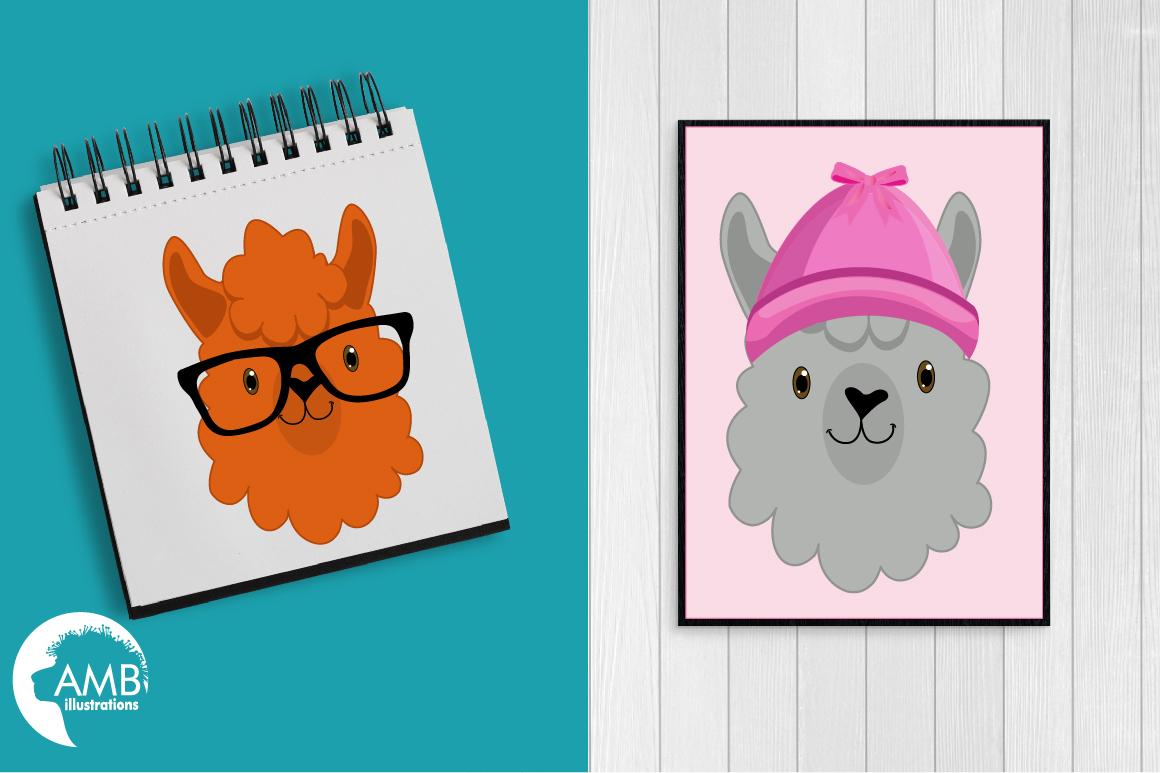 Create your own LLama, DIY Llama Funny Faces clipart, graphics, illustrations, AMB-2376 example image 4