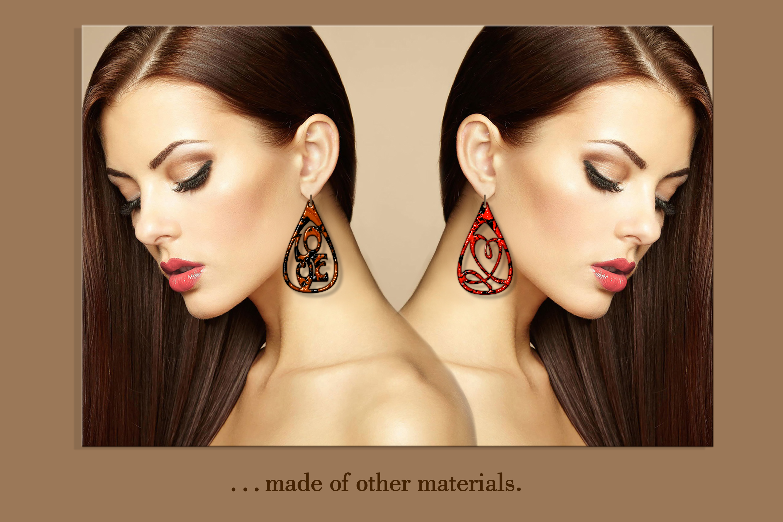 10 Leather earring bundle svg Teardrop earring Necklace example image 4