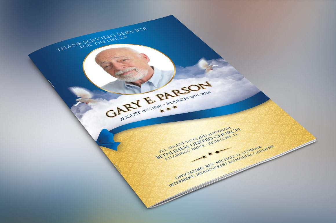 Blue Ribbon Funeral Program Template example image 3