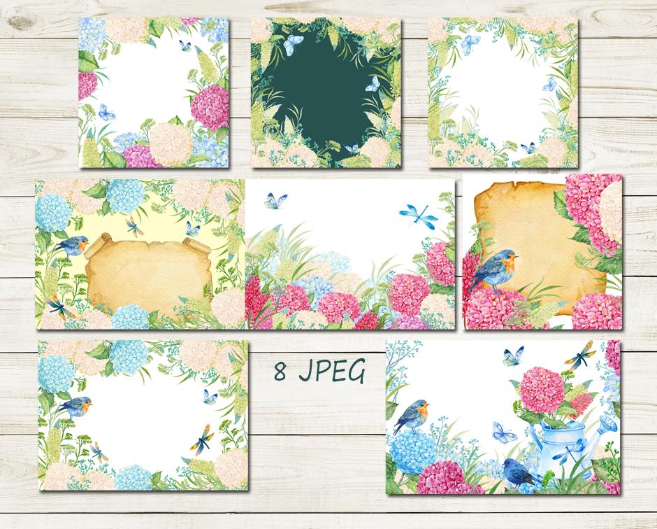 hydrangea watercolor clipart example image 3