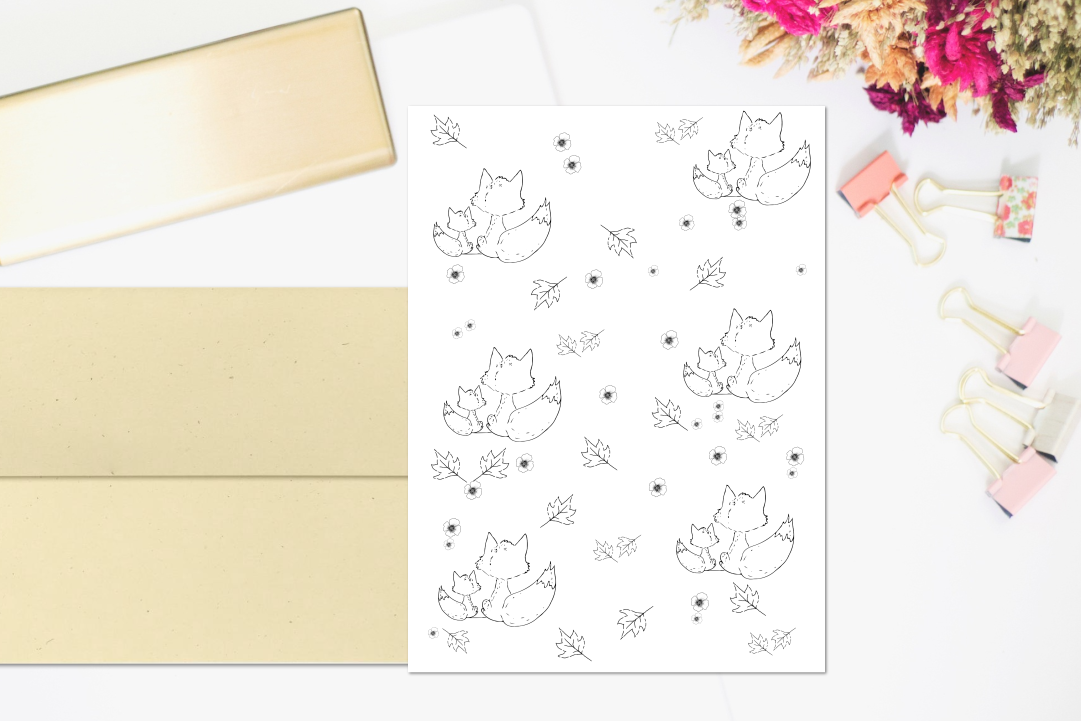 Fox and Flowers Doodle Pattern, A1, SVG example image 4