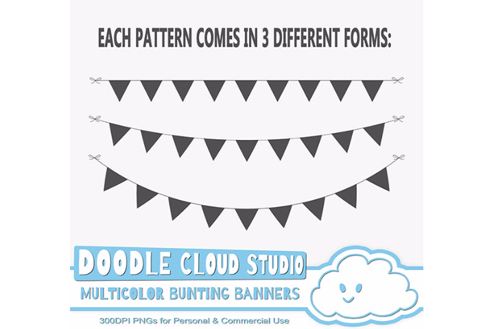 Multicolor Bunting Banners Cliparts, Colorful Rainbow Bunting Flags, Transparent Background, Instant Download, Personal & Commercial Use example image 2