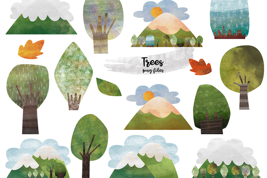 Watercolor Mountain Tree clipart. Mountain and tree clipart example image 1