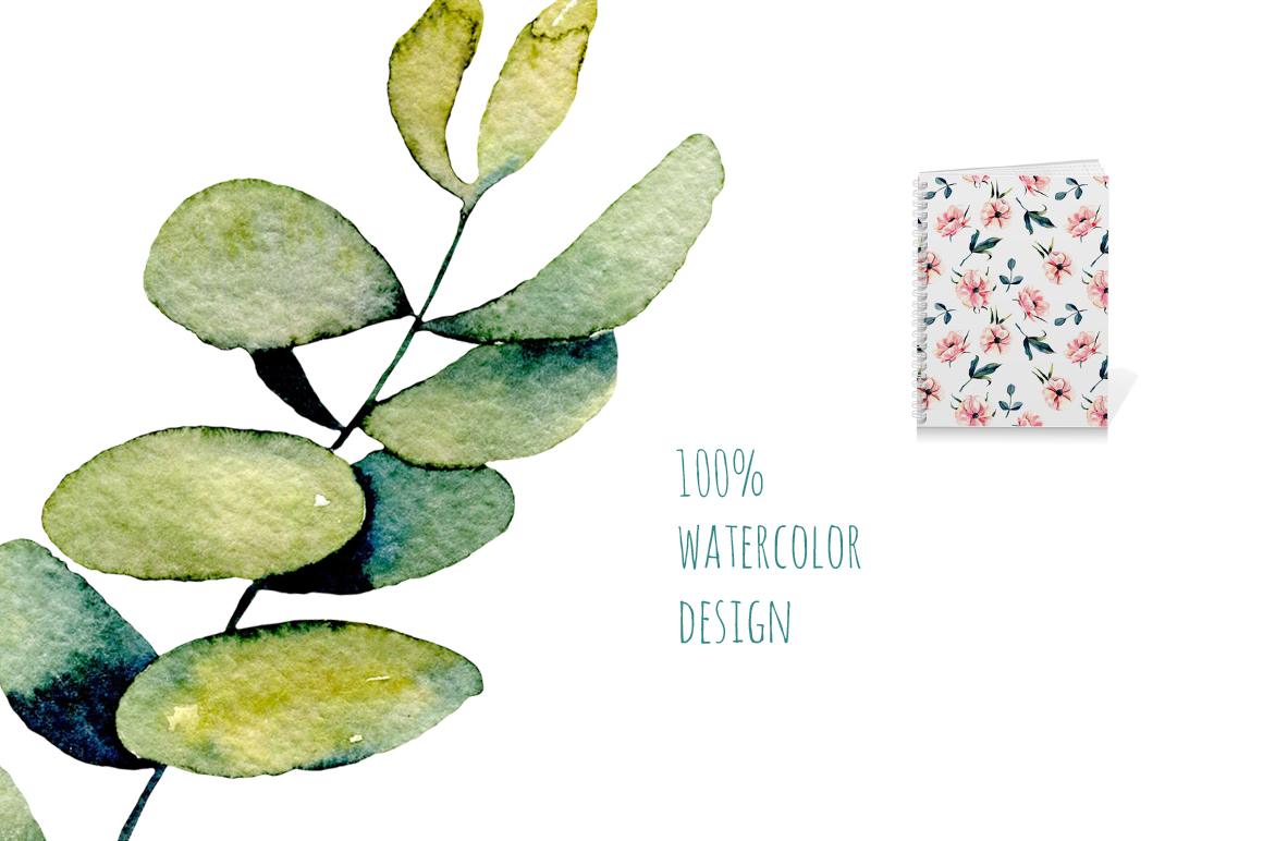 Eucalyptus watercolor clipart example image 2