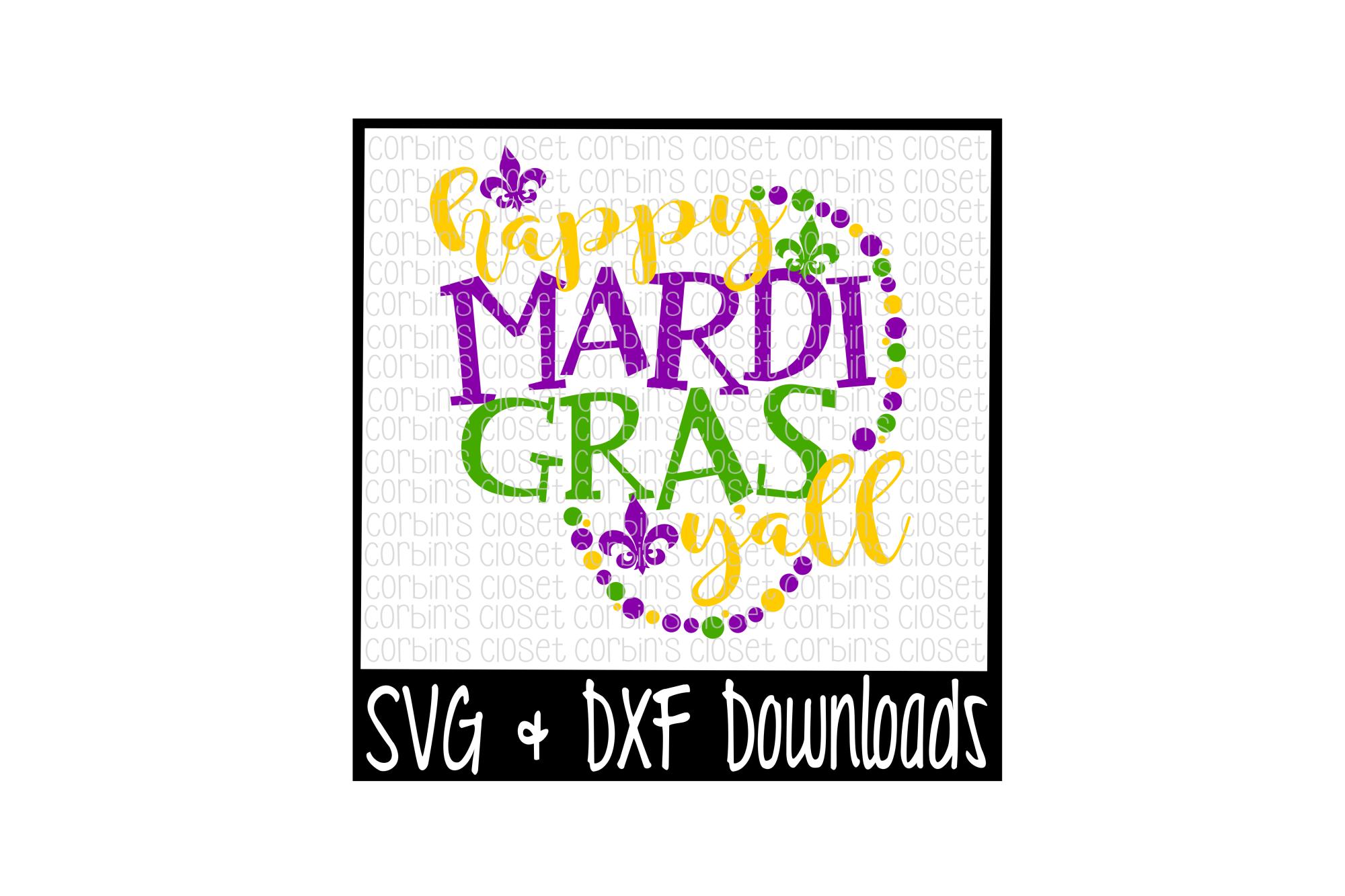 Mardi Gras SVG * Happy Mardi Gras Y'all * Beads Cut File example image 1