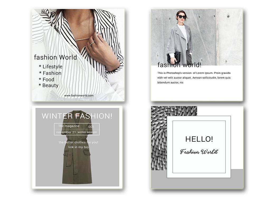 Fashion Social Media Pack, Social Media Bundle, 20 Square Social Media Templates, Instagram Template Pack, Social Media Graphics Pack example image 3