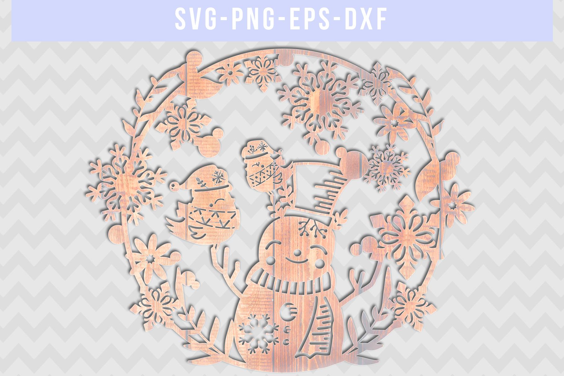Winter SVG Cut File, Snowflake Papercut, Snowman Laser Cut example image 4