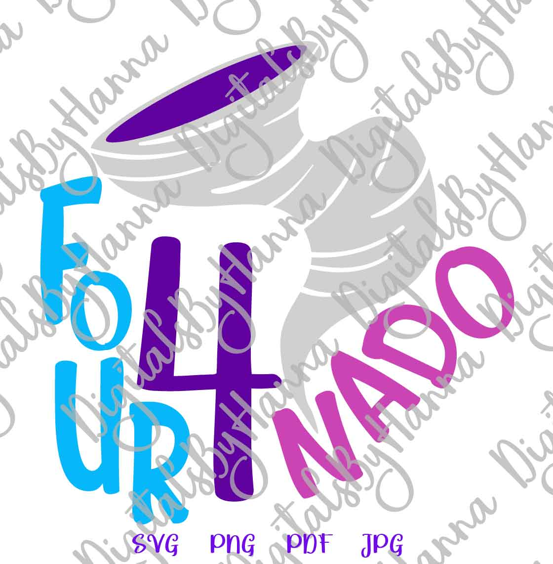 Fournado 4th Birthday Outfit Sign Print & Cut File PNG SVG example image 4