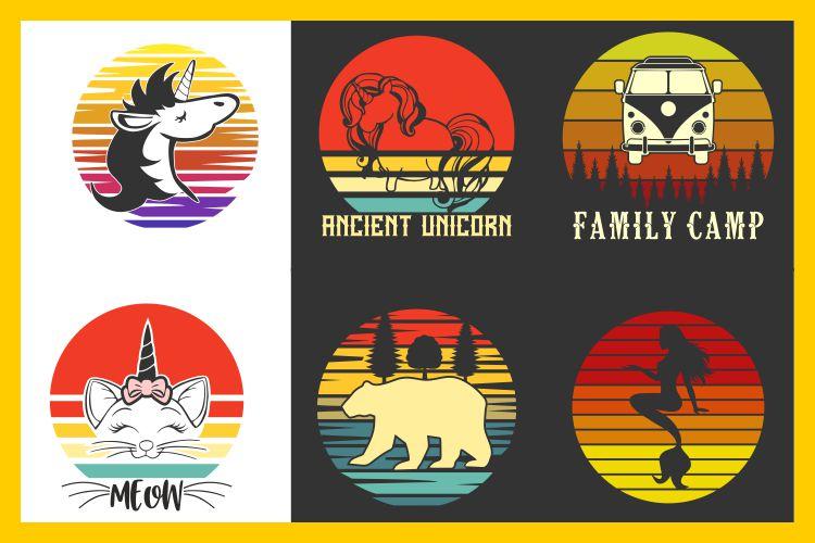 vintage sunset retro t-shirt designs, unicorn cat bear svg example image 1