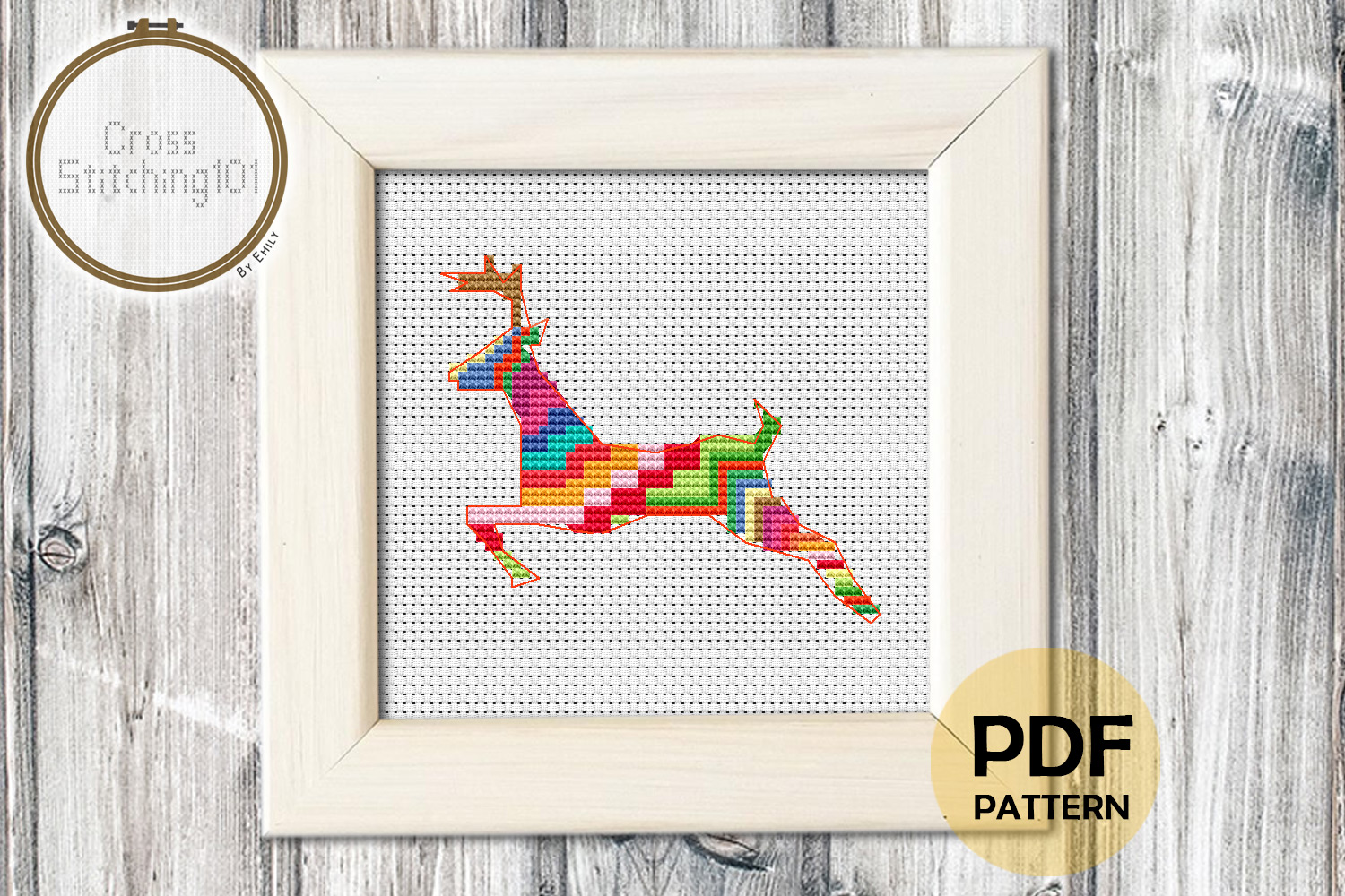 Deer Running Cross Stitch Pattern- Instant Download PDF example image 1