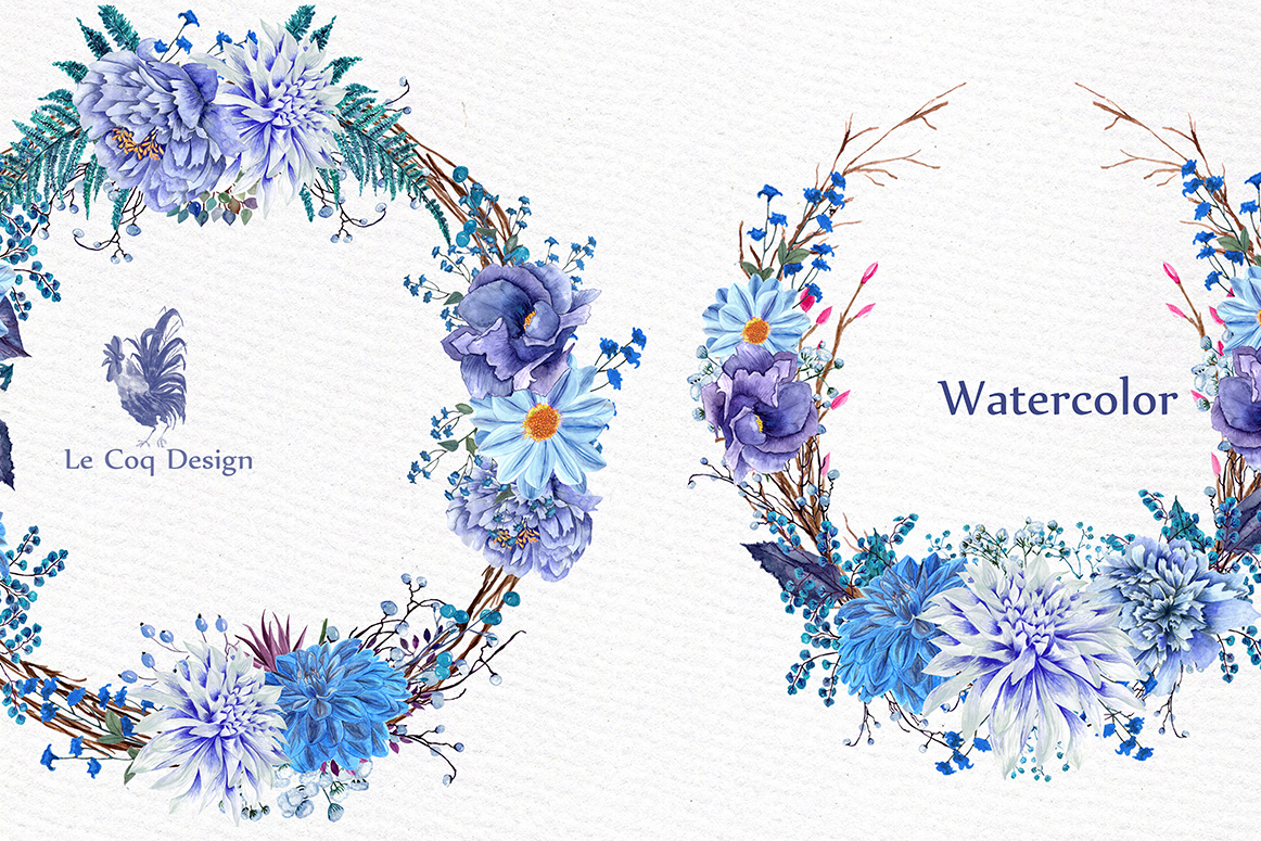 Watercolor wedding wreaths clipart example image 2