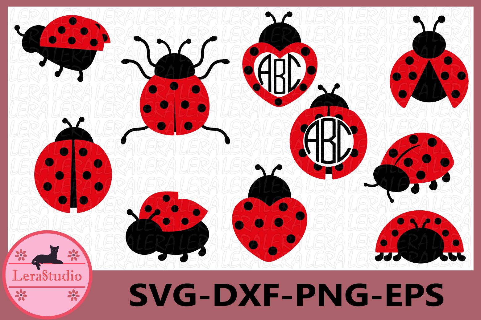 Ladybug svg, Ladybug Monogram Frames SVG, Ladybugs Svg example image 1