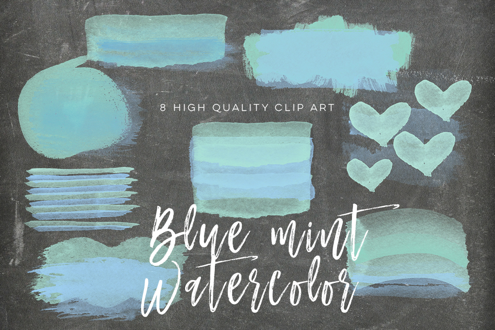 blue mint brush strokes, Blue Green Watercolor Circles, Blue & Green Watercolor and Shimmer Circles, ombre brush strokes,  DIY Clipart example image 3