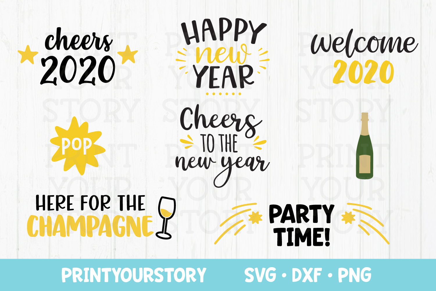 New Years SVG Files Bundle - SVG DXF PNG Clipart Set example image 1