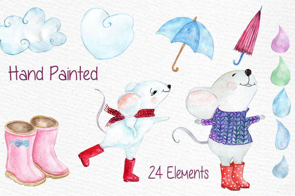 Watercolor weather clipart example image 3