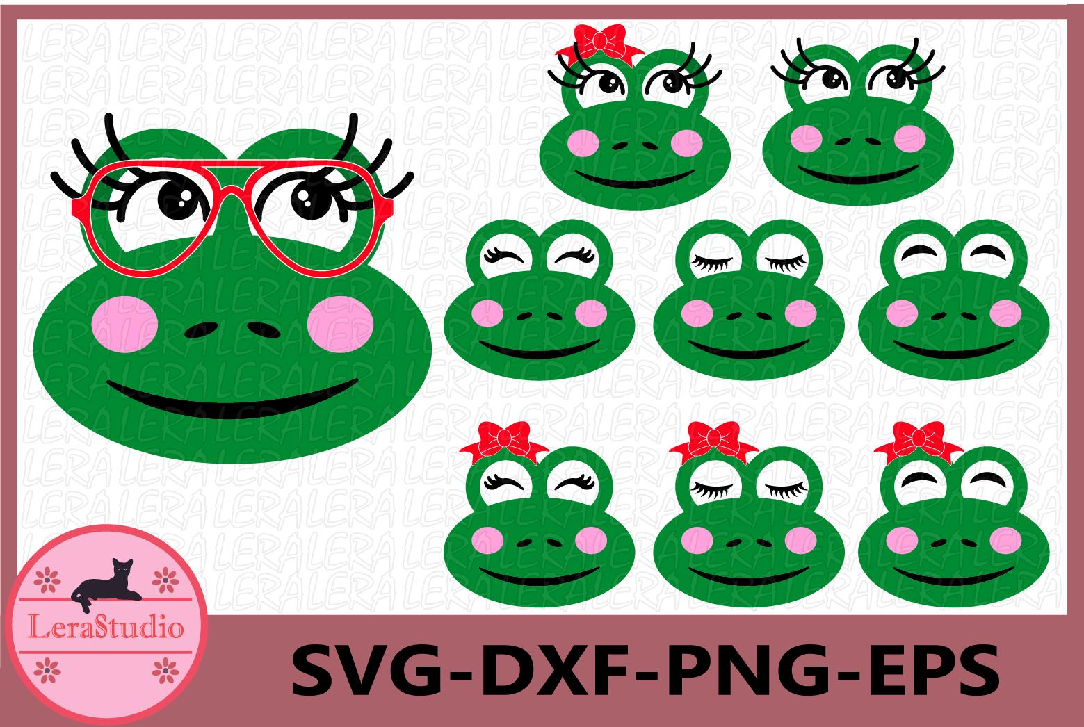 Frog SVG, Animal face svg, Frog Eyelashes Face Svg, Frog example image 1