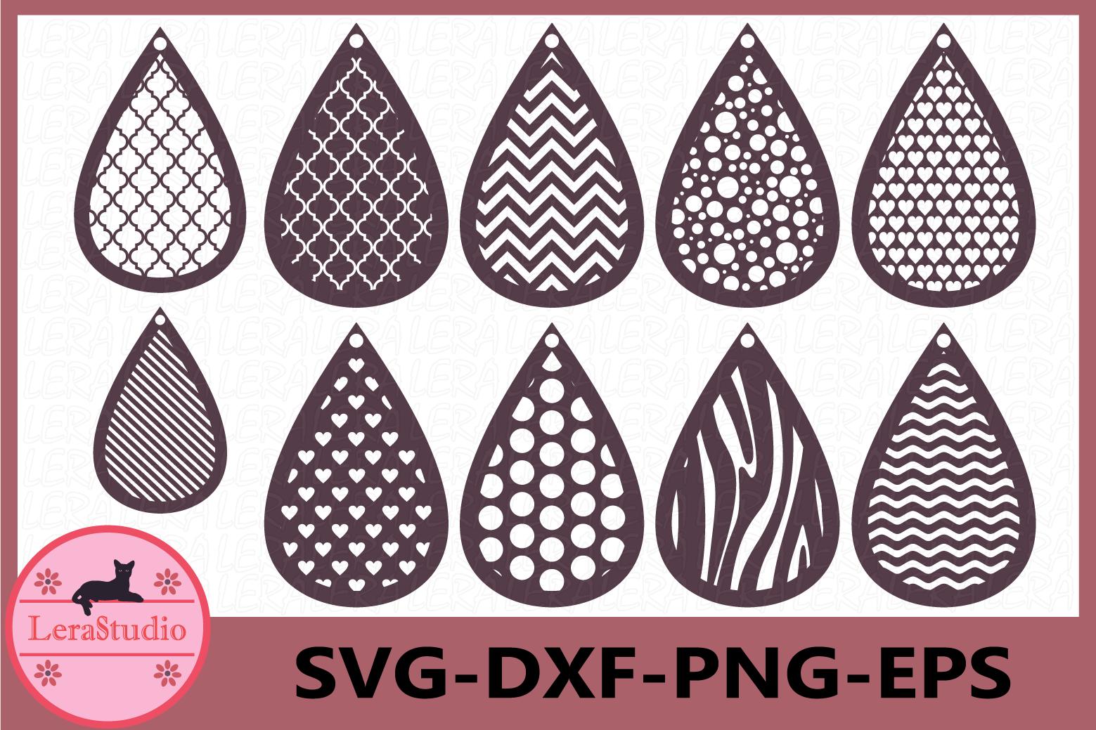 Earrings SVG, Tear Drop Svg, Teardrop Earrings example image 1