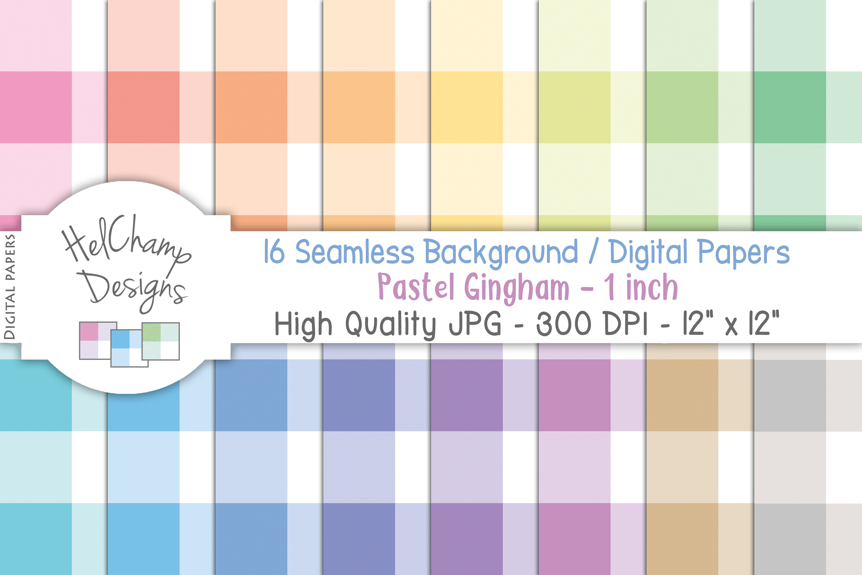 16 seamless Digital Papers - Pastel Gingham 1 inch - HC003 example image 1