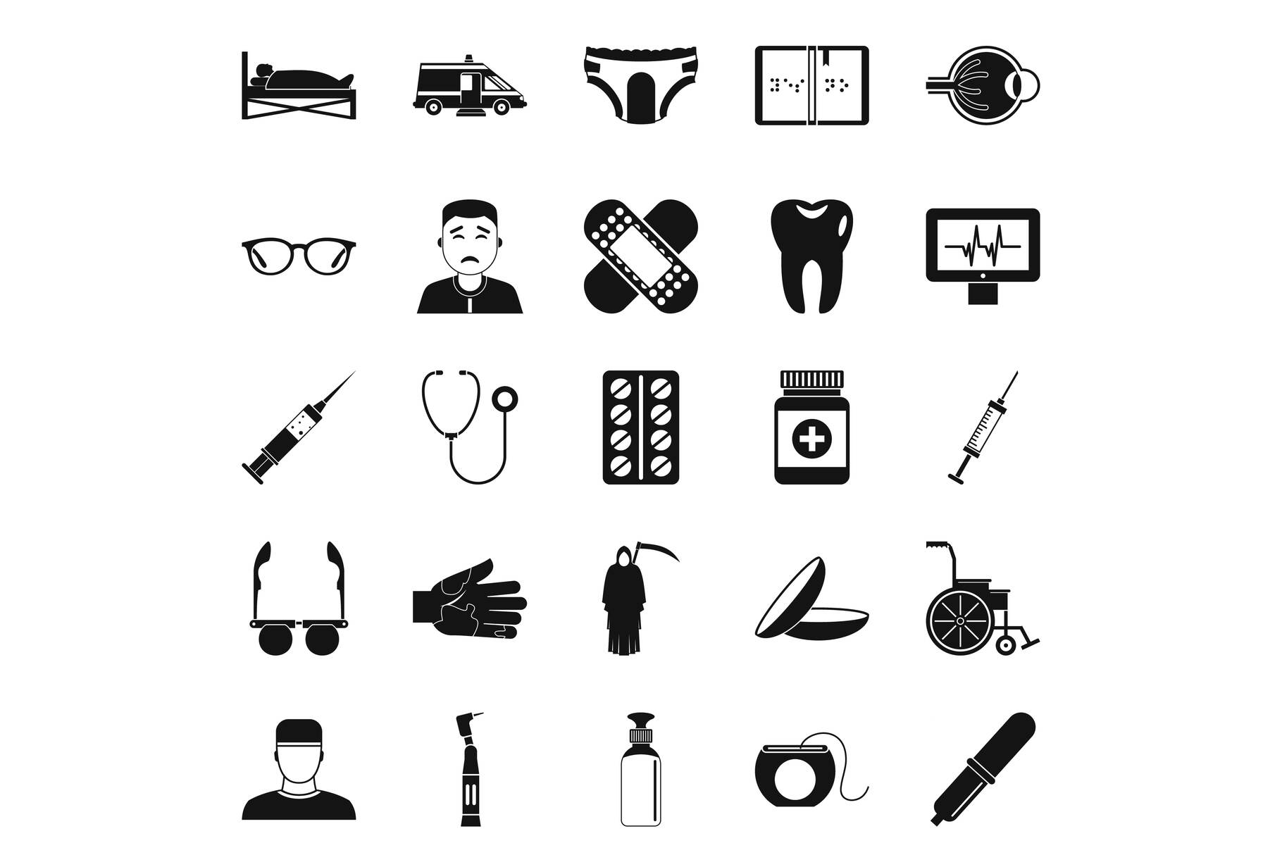 Care of relatives icons set, simple style example image 1