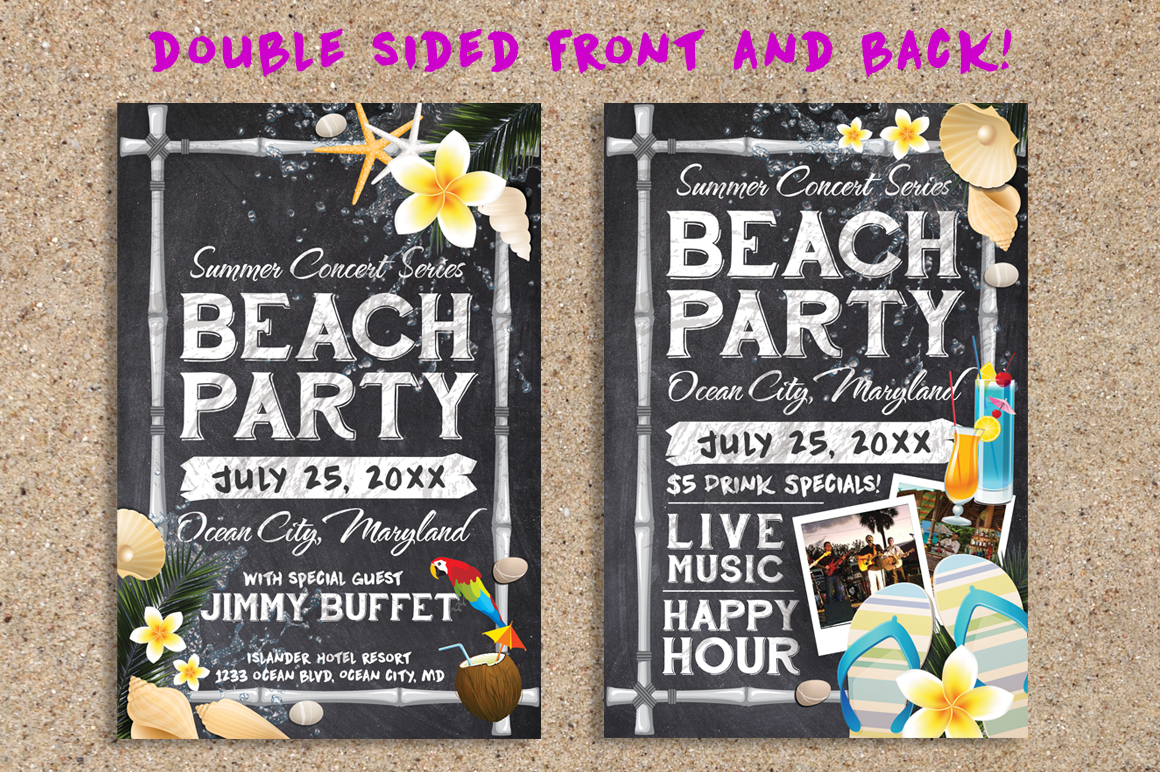 Chalk Summer Beach Party Flyer example image 2