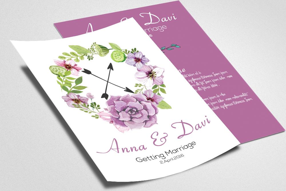 Double sided Invitation Wedding Cards example image 2