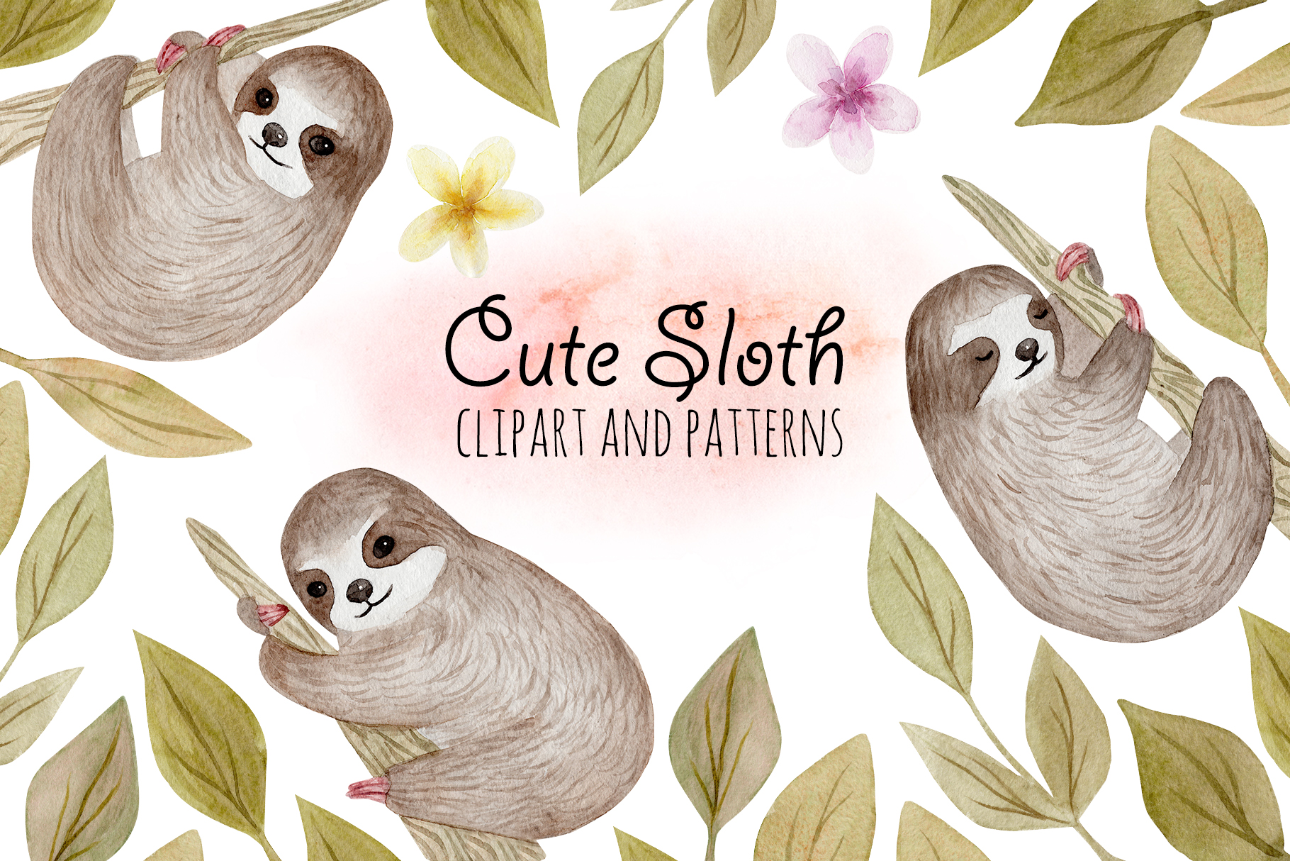 Cute Sloth. Watercolor Patterns example image 1