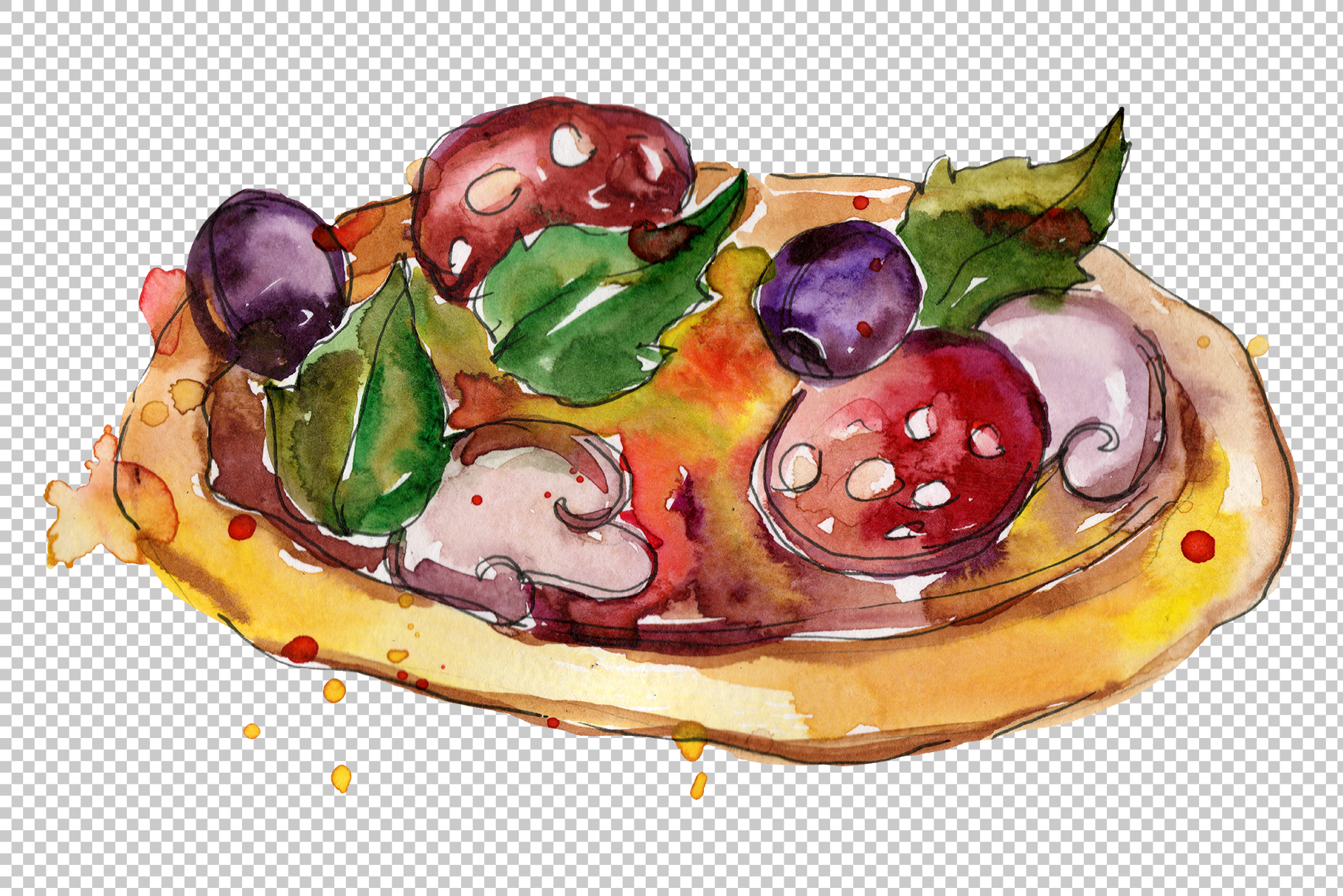 Pizza Margherita watercolor png example image 4