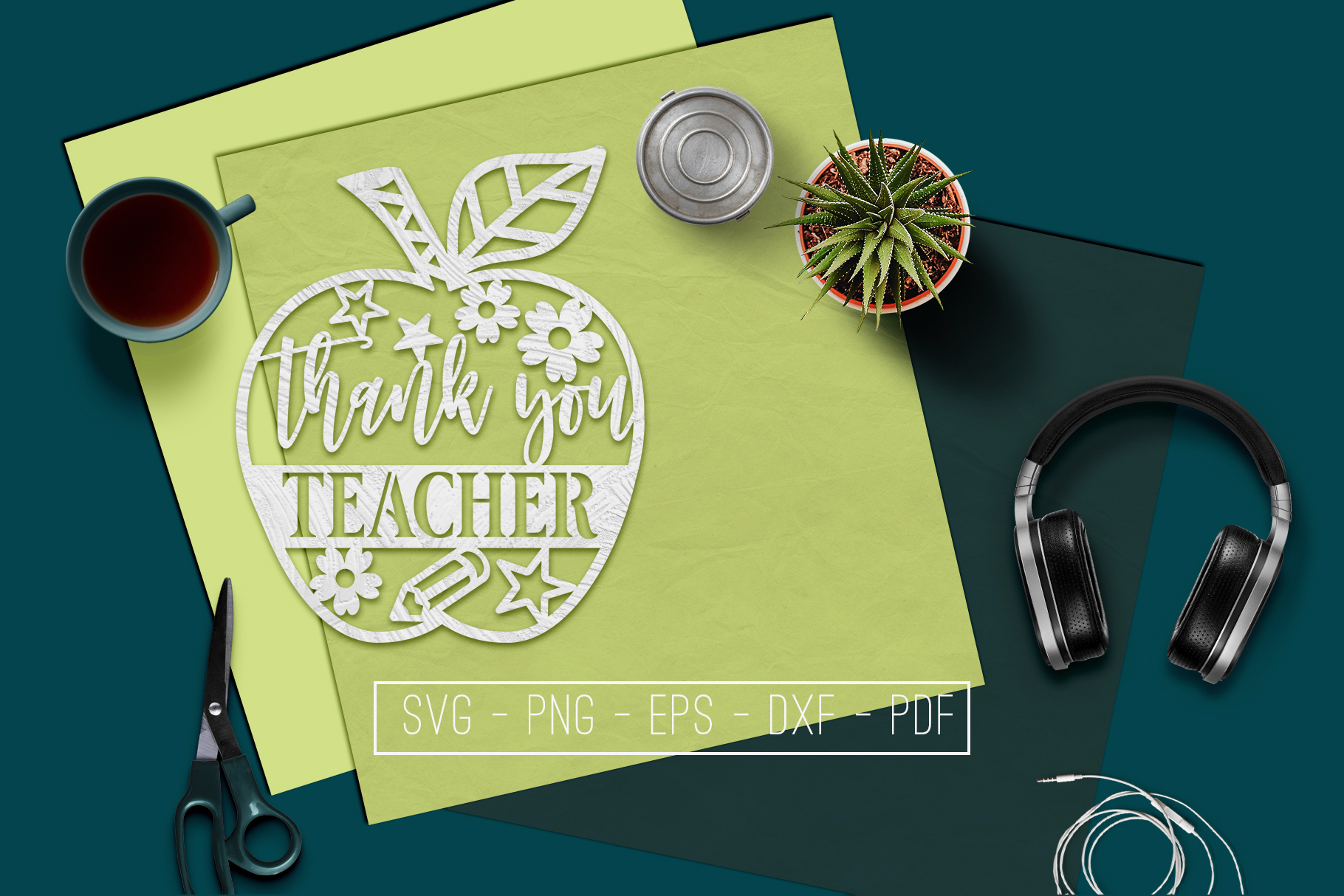 Thank You Teacher Paper Cut Template, School SVG, PDF, DXF example image 1