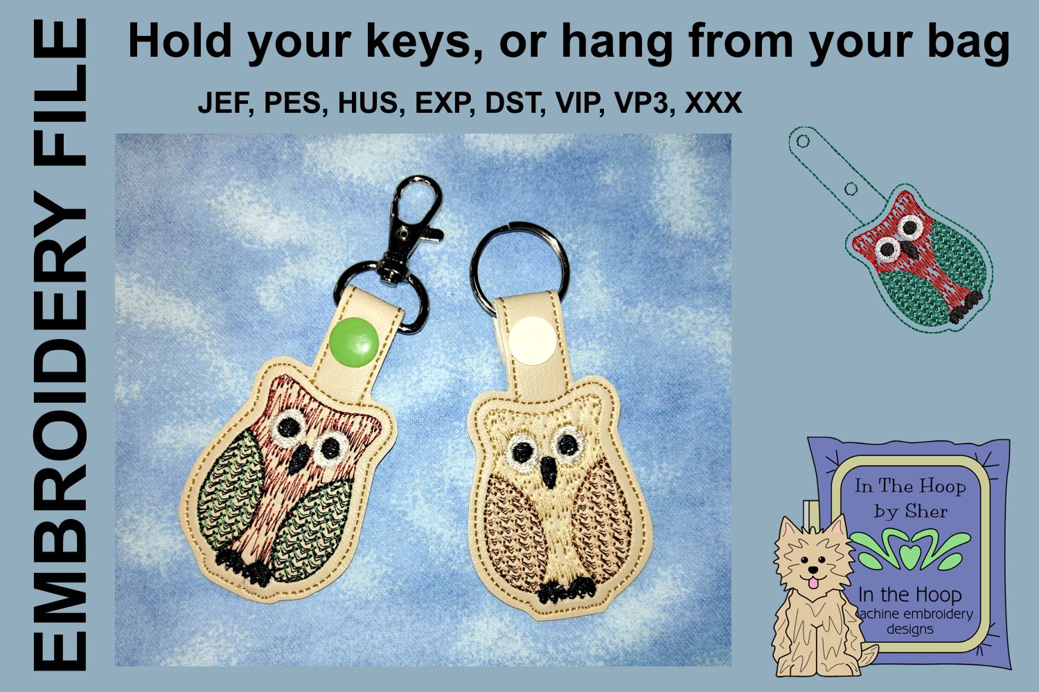ITH Owl Cookie Vinyl Key Fob or Bag Tag - Snap example image 1