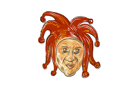 Court Jester Head Drawing example image 1