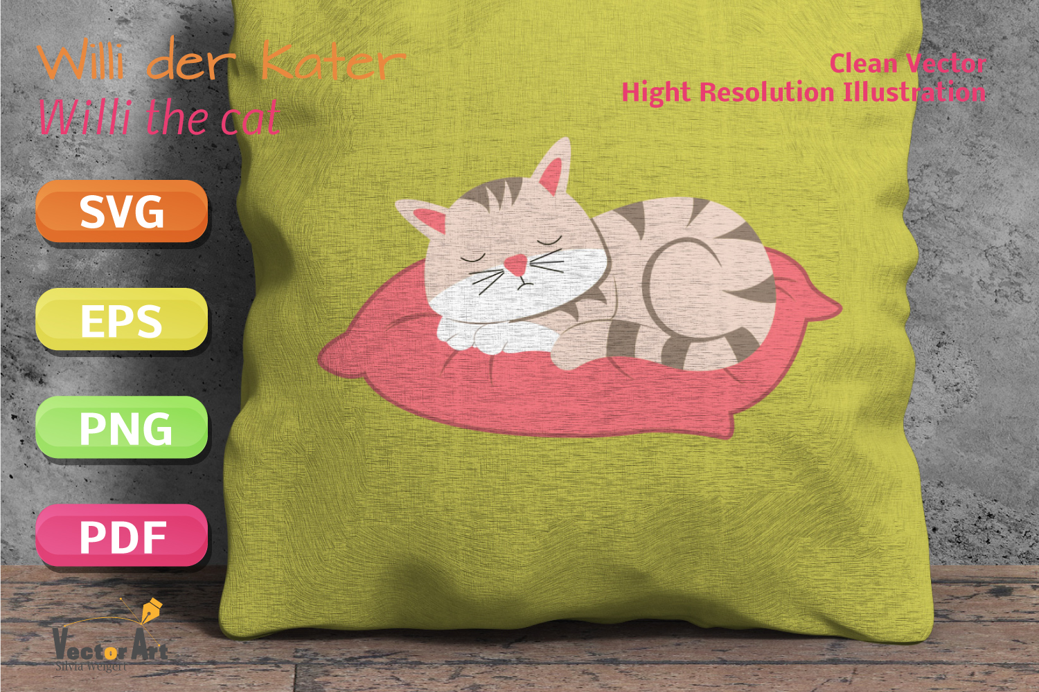 Sleeping Cat - SVG File for Crafters example image 4