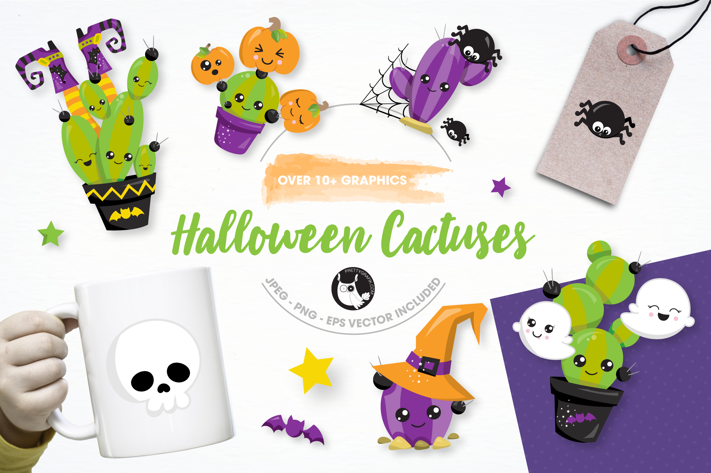 Halloween cactus graphics and illustrations example image 1