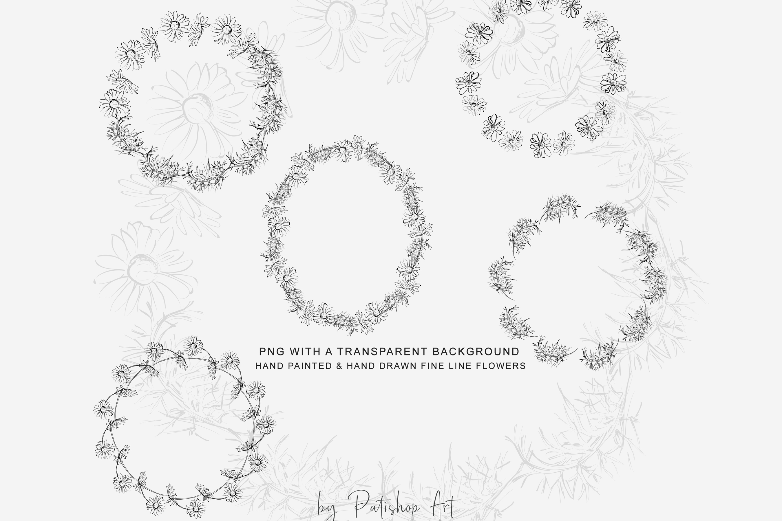Watercolor Daisy Wreath Clip Art example image 8