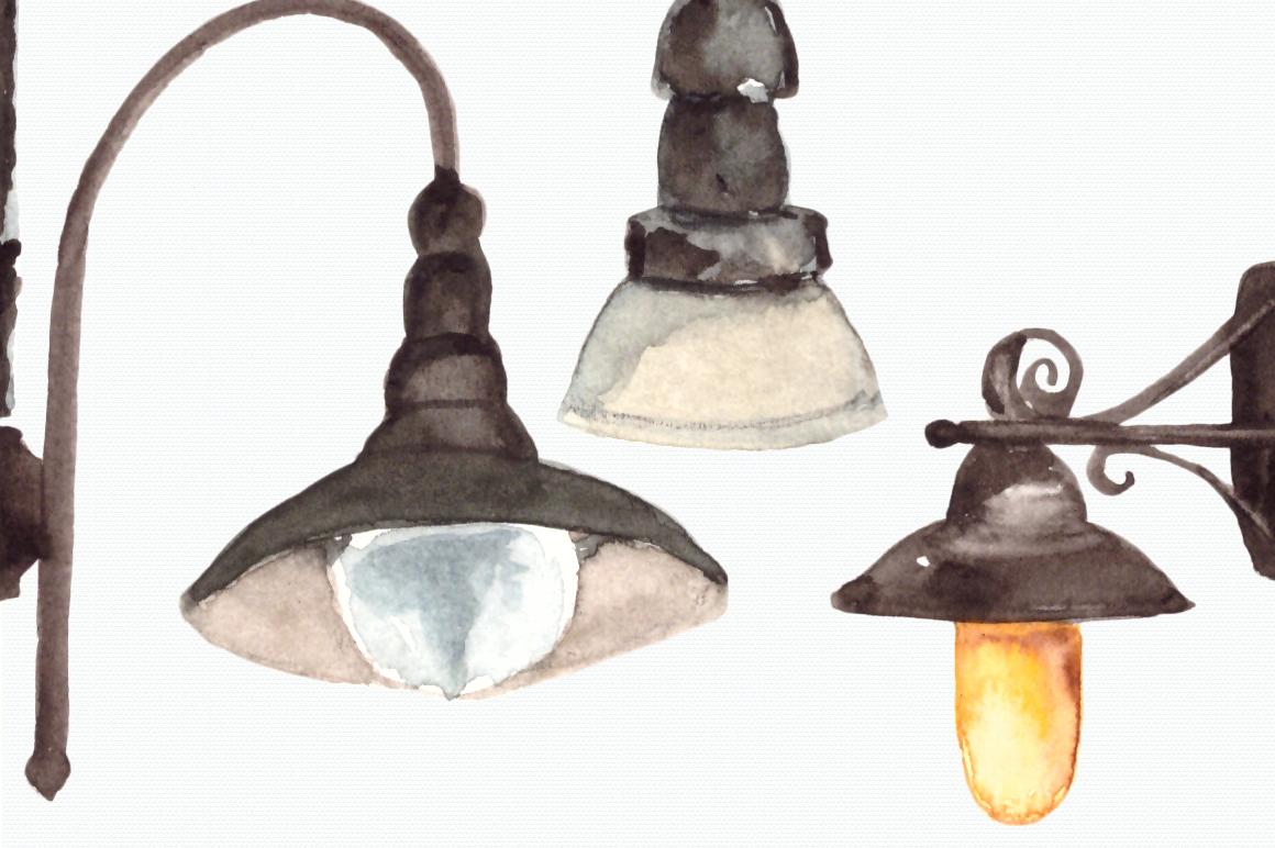Watercolor Lanterns Clip Art Set example image 3