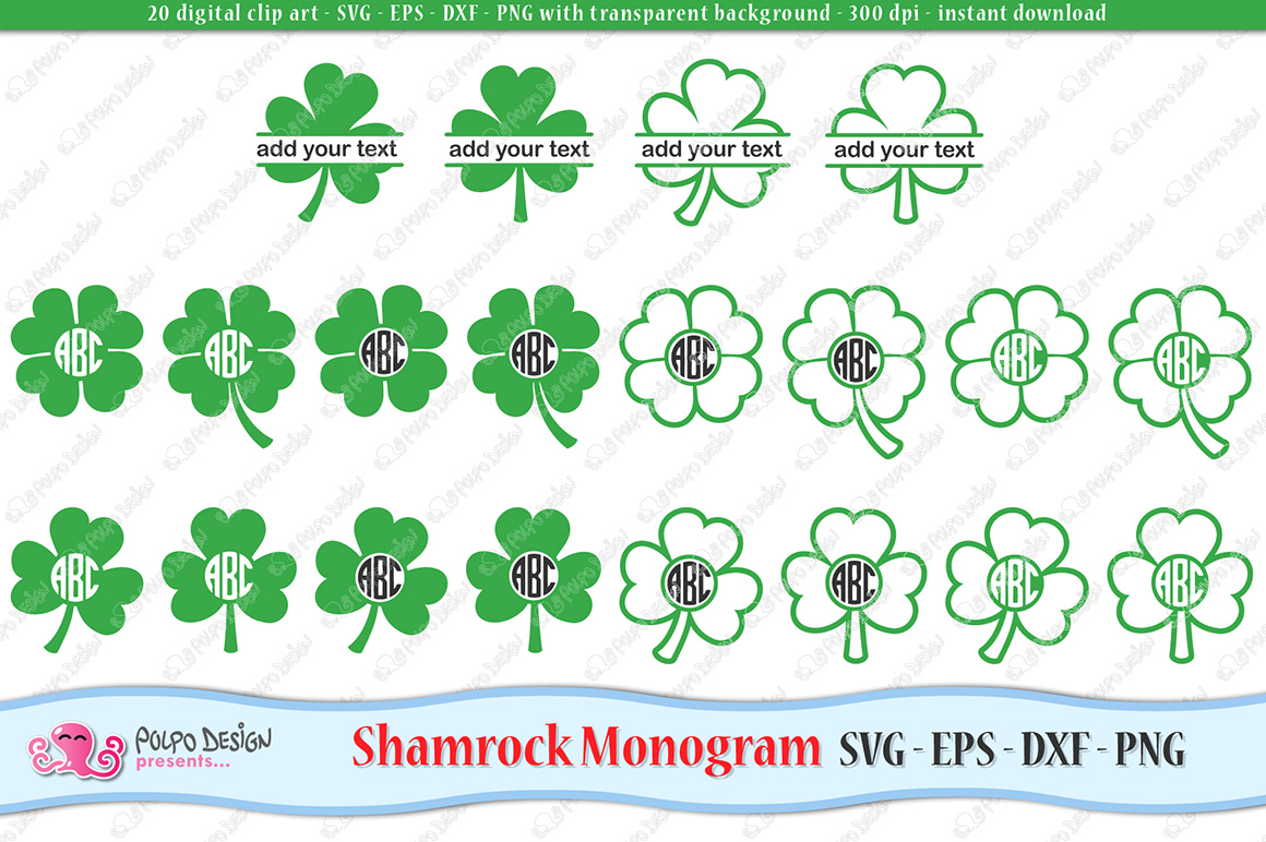 Shamrock Monogram SVG example image 1
