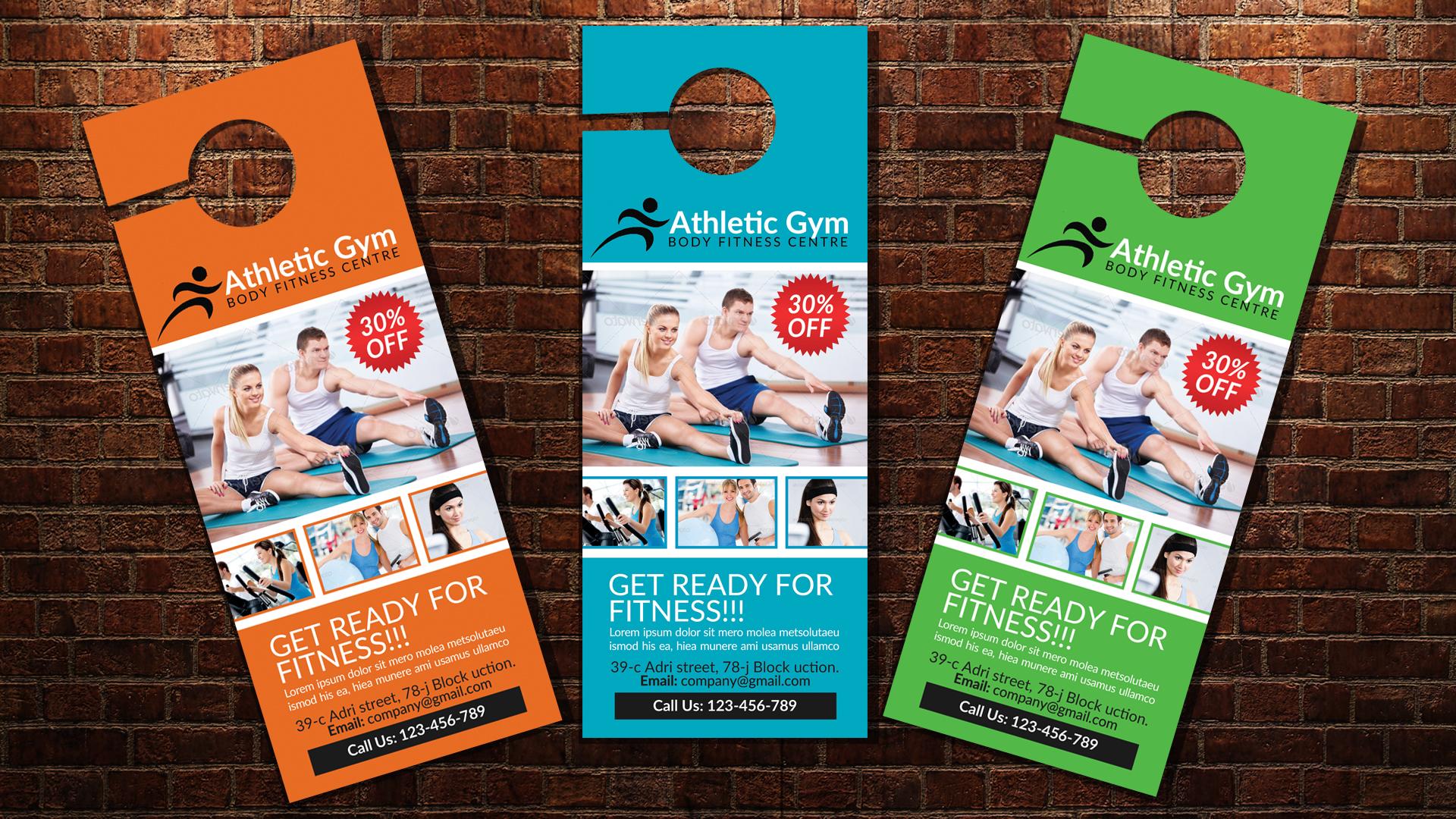 Body Fitness Club Door Hangers example image 3