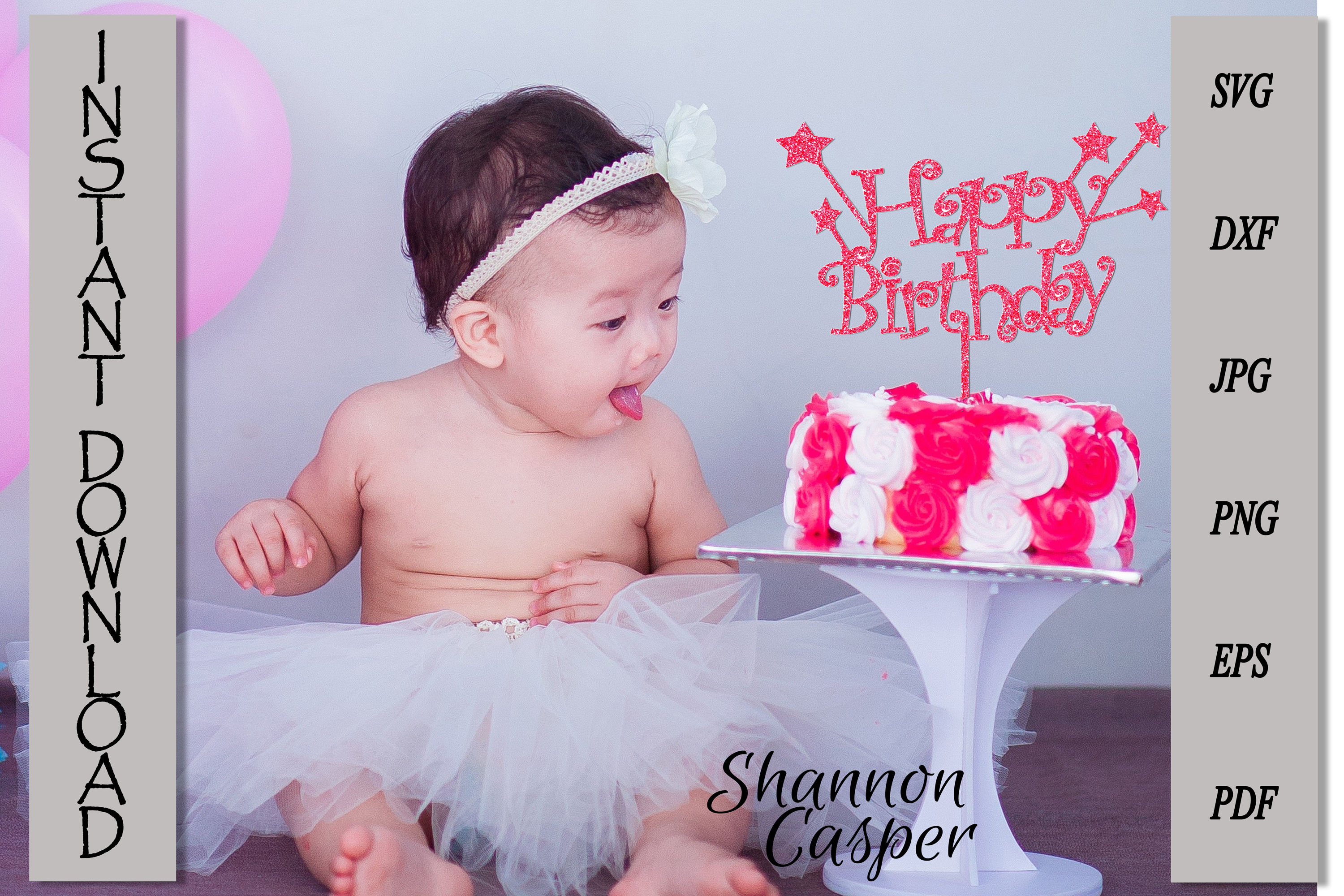 Happy Birthday Cake Topper with Stars example image 8