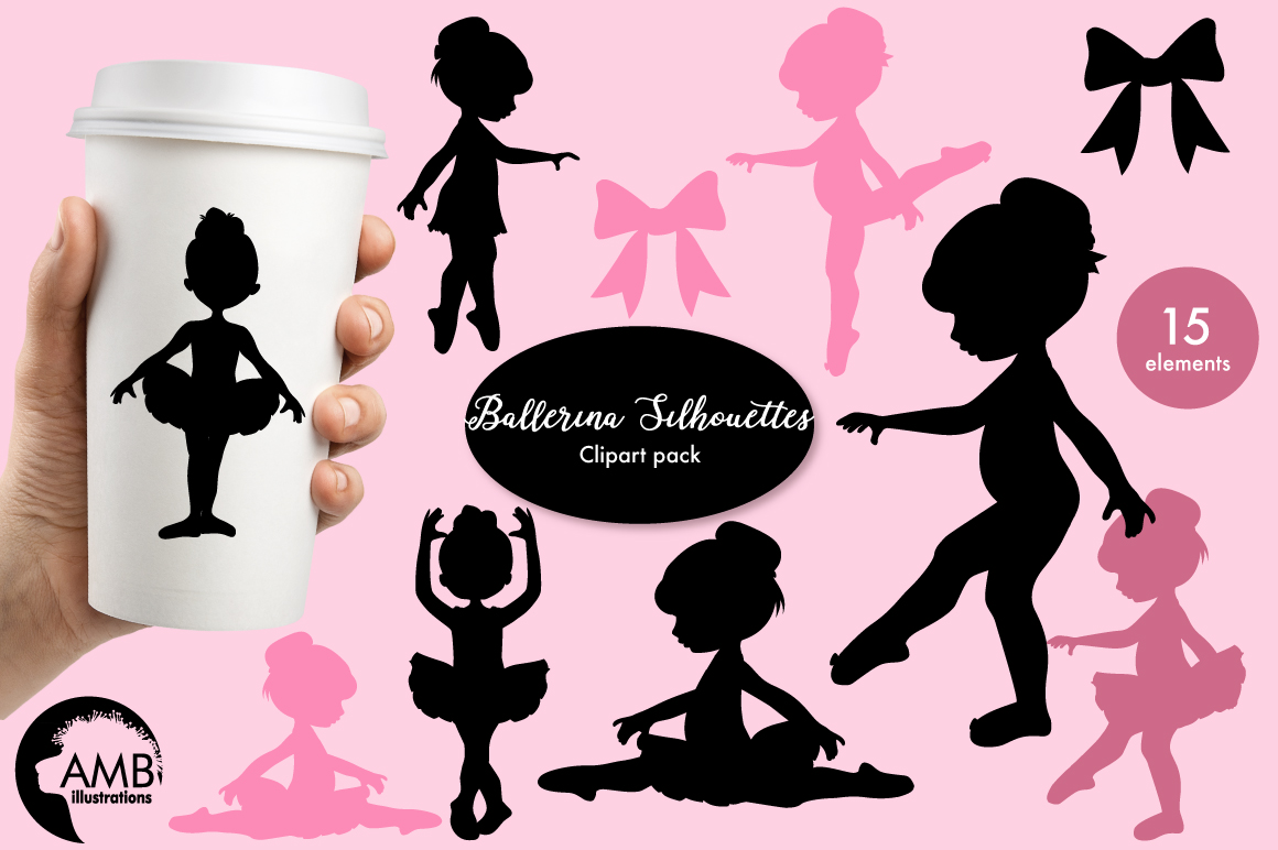 Ballerina silhouettes clipart, graphics, illustrations AMB-1584 example image 1